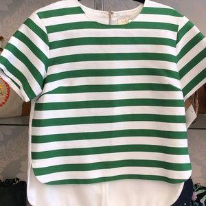 KATE SPADE Green & White Striped Cotton/Silk Top